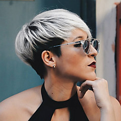 billiga Peruker och hårförlängning-Human Hair Capless Parykar Äkta hår Rak Pixie-frisyr / Med lugg Ombre-hår / Mörka hårrötter / Sidodel Nyans Korta Maskingjord Peruk