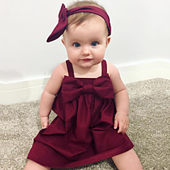 cheap Baby & Toddler Girl-Baby Girls' Simple Solid Colored Sleeveless Cotton / Linen / Bamboo Fiber Dress / Toddler