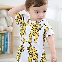 baratos Roupas de Meninos-Bébé Para Meninos Comum Estampado Meia Manga Padrão Algodão Camiseta Amarelo
