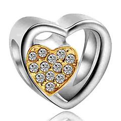 billige Perler og smykkemaking-DIY Smykker 1 stk Perler Fuskediamant Legering Gul Marineblå Hjerte Perlene 0.2 cm DIY Halskjeder Armbånd