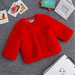 billige Pigetoppe-Børn Pige Simple Ensfarvet Langærmet Kort Bluse