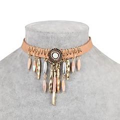 お買い得  チョーカーネックレス-女性用 キュービックジルコニア ジルコン レザー チョーカー  -  クラシック ファッション 不規則な ライトブラウン ネックレス 用途 日常