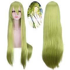 tanie Peruki syntetyczne-Peruki syntetyczne Prosto Z grzywką Naturalna linia włosów Zielnony Bez czepka Halloween Wig Peruka imprezowa Lolita Wig cosplay peruka