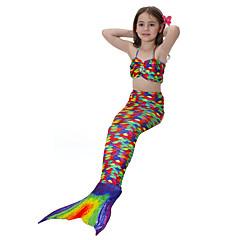 baratos Roupas de Meninas-Para Meninas Fofo Activo Estampado Roupa de Banho, Algodão Poliéster Sem Manga Arco-íris