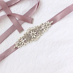 cheap Party Sashes-Satin/ Tulle Wedding Special Occasion Sash With Faux Pearl Crystals/Rhinestones Women's Sashes