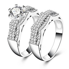 cheap Rings-Women's Band Ring Cubic Zirconia Rhinestone 2pcs Silver Circle Vintage Elegant Wedding Engagement Ceremony Costume Jewelry