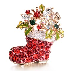 cheap Pins and Brooches-Women's Brooches AAA Cubic Zirconia Sweet Stainless Red Jewelry For Christmas Gift New Year