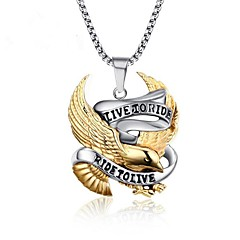 cheap Men's Necklaces-Men's Pendant Necklace - Stainless Steel Bird Vintage, Punk Gold Necklace Jewelry One-piece Suit For Gift, Daily