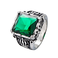 cheap Men's Rings-Men's Statement Ring - Stainless Punk, Hip-Hop Jewelry Black / Red / Dark Green For Wedding Daily Masquerade Engagement Party Prom Street 8 / 9 / 10 / 11 / 12