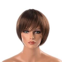 """billiga Peruker och hårförlängning-Syntetiska peruker Yaki Rakt Frisyr i lager Syntetiskt hår Naturlig hårlinje Brun Peruk Korta / 28.7""""(Approx.73cm) / 8,5"""" Utan lock Svart / Brun"""