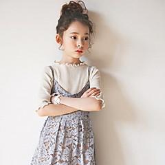billige Pigetoppe-Børn Pige Simple / Aktiv Ensfarvet Kortærmet Lang Bomuld T-shirt