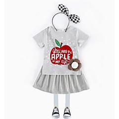 billige Tøjsæt til piger-Pige Tøjsæt Daglig Trykt mønster, Polyester Sommer Kortærmet Simple Grå