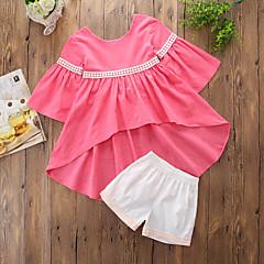 billige Tøjsæt til piger-Pige Tøjsæt Daglig I-byen-tøj Ensfarvet Trykt mønster, Bomuld Rayon Sommer Langærmet Sødt Afslappet Lyserød
