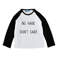 baratos Roupas de Meninas-Unisexo Diário Feriado Estampa Colorida Camiseta, Algodão Primavera Outono Manga Longa Casual Branco