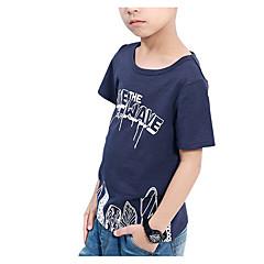 baratos Roupas de Meninos-Infantil Para Meninos Casual Geométrica Manga Curta Camiseta