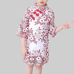 baratos Roupas de Meninas-Infantil Para Meninas Temática Asiática Diário / Para Noite Floral Renda Manga 3/4 Raiom / Poliéster Vestido Vermelho