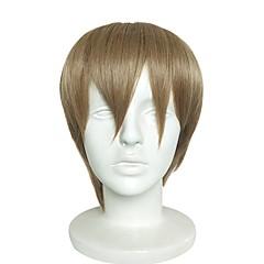 billiga Peruker och hårförlängning-Syntetiska peruker Yaki Rakt Bob-frisyr Syntetiskt hår Naturlig hårlinje Brun Peruk Herr Korta Utan lock Ljusbrun