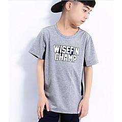 billige Overdele til drenge-Drenge Sport Skole Farveblok T-shirt, Polyester Sommer Kortærmet Aktiv Orange Rød Grå Lysegrå Marineblå