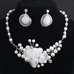 Χαμηλού Κόστους Αξεσουάρ για Πάρτι-Γυναικεία Κρυστάλλινο Κοσμήματα Σετ - Μαργαριτάρι Λουλούδι Ευρωπαϊκό, Μοντέρνα Περιλαμβάνω Ασημί Για Γάμου / Καθημερινά