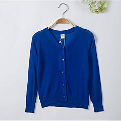 billige Sweaters og cardigans til piger-Børn Pige Simple Daglig Ensfarvet Langærmet Akryl Trøje og cardigan Lyserød 110