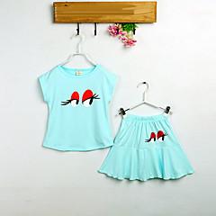 billige Tøjsæt til piger-Pige Simple Ferie Ensfarvet Kortærmet Bomuld Tøjsæt