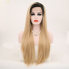cheap Wigs & Hair Pieces-Synthetic Lace Front Wig Women's Straight Blonde Synthetic Hair Ombre Hair Blonde Wig Long Lace Front Black / Gold
