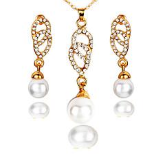 baratos Conjuntos de Bijuteria-Mulheres Conjunto de jóias - senhoras, Simples, Fashion Incluir Brincos Compridos Colares com Pendentes Dourado Para Casamento Festa Aniversário