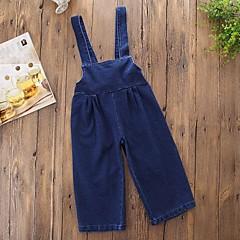billige Bukser og leggings til piger-Baby Pige Simple / Afslappet Daglig / I-byen-tøj Ensfarvet Racer Bagside / Klassisk / Denimstof Uden ærmer Bomuld / Polyester Overall og jumpsuit Blå