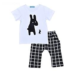 billige Tøjsæt til piger-Unisex Daglig Ferie Trykt mønster Tøjsæt, Bomuld Forår Sommer Kortærmet Afslappet Sort