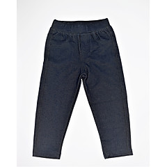 billige Bukser og leggings til piger-Baby Pige Simple / Afslappet / Basale Daglig Ensfarvet Strikket / Lomme Spandex Bukser Mørkegrå 100
