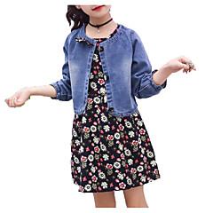 baratos Roupas de Meninas-Para Meninas Conjunto Diário Feriado Sólido Floral Primavera Verão Algodão Poliéster Manga Curta Manga Longa Simples Activo Azul