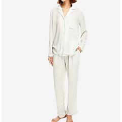 billige Moteundertøy-Dame Bomull Sateng og silke Pyjamas - Ensfarget, Blonde