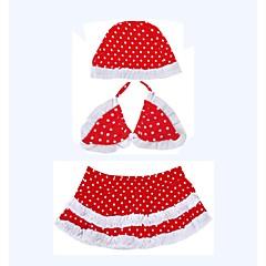 billige Badetøj til piger-Pige Sødt Prikker Badetøj, Bomuld Polyester Uden ærmer Rød