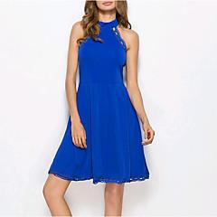 Damen Freizeit Hülle Kleid - Spitze, Solide Knielang