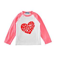 billige Pigetoppe-Baby Unisex Aktiv Daglig / Ferie Trykt mønster Hjerte Stil / Stilfuldt Langærmet Normal Bomuld T-shirt Sort 100