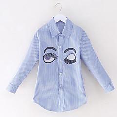 billige Pigetoppe-Børn Pige Simple / Afslappet Stribet Pailletter Langærmet Bomuld Skjorte