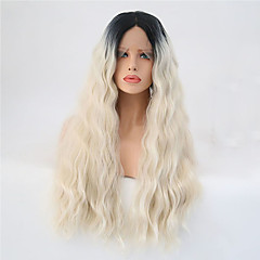 cheap Wigs & Hair Pieces-Synthetic Lace Front Wig Women's Natural Wave Blonde Synthetic Hair Ombre Hair Blonde Wig Long Lace Front Black / Gold
