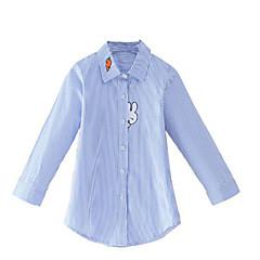 お買い得  ガールズウェア-女の子 日常 ストライプ コットン レーヨン シャツ 春 秋 長袖 シンプル カジュアル ブルー