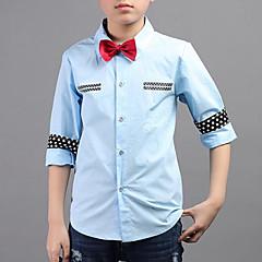 billige Overdele til drenge-Drenge Skjorte Daglig I-byen-tøj Patchwork, Bomuld Forår Efterår Langærmet Gade Hvid Lyseblå