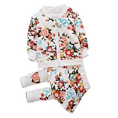 billige Tøjsæt til piger-Baby Pige Simple / Afslappet Daglig / Sport Ensfarvet / Blomstret Tegneserie / Printer / Trykt mønster Langærmet Bomuld / Polyester Tøjsæt Hvid 100