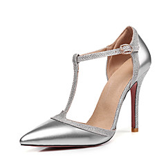 cheap Women's Heels-Women's Shoes Patent Leather Spring / Summer D'Orsay & Two-Piece / Basic Pump Heels Stiletto Heel Pointed Toe Buckle Silver / Red / Nude