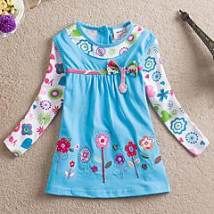 baratos Roupas de Meninas-Para Meninas Blusa Diário Feriado Floral Retalhos Primavera Outono Algodão Manga Longa Fofo Casual Azul Fúcsia