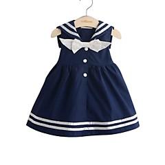 baratos Roupas de Meninas-Menina de Vestido Diário Feriado Sólido Primavera Verão Algodão Manga 3/4 Simples Fofo Branco Azul Marinha