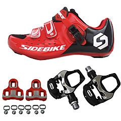 billige Sykkelsko-SIDEBIKE Sykkelsko med pedal og tåjern / Veisykkelsko Karbonfiber Demping, Ultra Lett (UL) Sykling Rød / Svart Herre