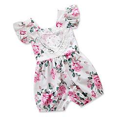 billige Babytøj-Baby Pige Afslappet Daglig / I-byen-tøj Blomstret / Trykt mønster Blonder / Stilfuldt / Tynd Kort Ærme Polyester En del Hvid / Sødt