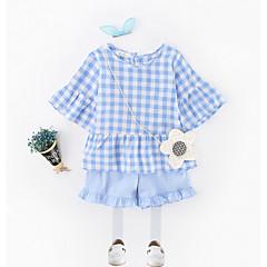 billige Tøjsæt til piger-Pige Tøjsæt Daglig Farveblok, Polyester Sommer Kortærmet Simple Lyseblå