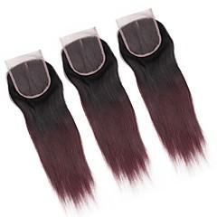 billiga Peruker och hårförlängning-ALIMICE Brasilianskt Rak 4x4 Stängning hår väva Schweizisk spetsperuk Remy Fria delen Mittparti 3 Del Färgskiftande