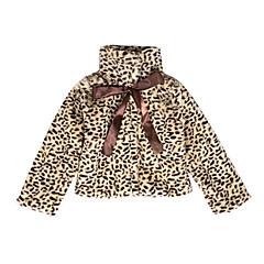 billige Jakker og frakker til piger-Pige Jakke og frakke Daglig Ferie Leopard, Bomuld Efterår Langærmet Sødt Brun