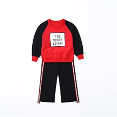billige Tøjsæt til piger-Børn Pige Simple / Afslappet Daglig / Sport Ensfarvet / Stribet / Trykt mønster Tegneserie / Blondér Langærmet Bomuld / Polyester Tøjsæt Sort 140