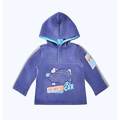 billige Hættetrøjer og sweatshirts til piger-Spædbarn Unisex Afslappet Daglig / Sport Ensfarvet Sport Langærmet Normal Bomuld Hættetrøje og sweatshirt Blå 90